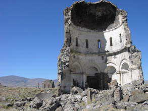 Photo: Church of the Redeemer ruins with the Cathedral behind, Ani