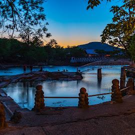 Bath Lake, Medicine Park by Kathy Suttles - City,  Street & Park  Night ( medicine park, dusk, bath lake, oklahoma, suttleimpressions,  )