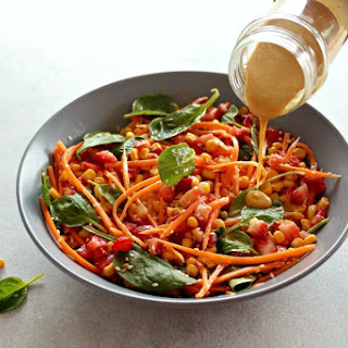 Asian Carrot Salad with Peanut Ginger Dressing.