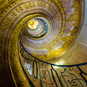 Spiral staircase, Melk Abbey, Melk, Austria. by Mick McKean - Buildings & Architecture Architectural Detail ( staircase, melk, spiral, architecture, austria, abbey,  )