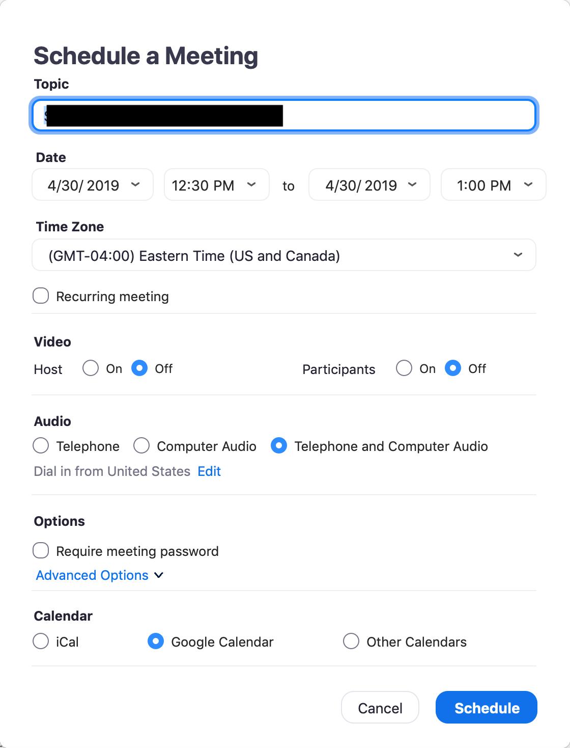 Zoom schedule meeting