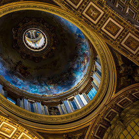 Basilica Ceiling by John Crongeyer - Buildings & Architecture Architectural Detail ( ornate, architechture, church, beautiful, religeous, dome, geometric, basilica, historic, cieling, blue, rome, decorated, italy, golden )