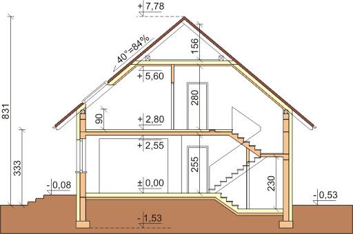 Dom przy Cyprysowej 16 - Przekrój