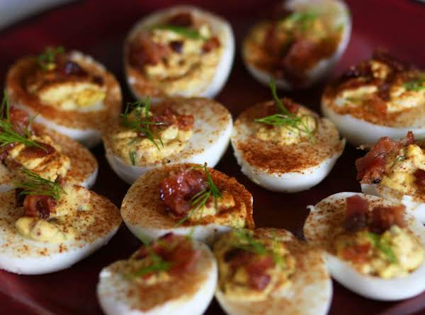 Deviled Eggs With Candied Bacon #whoneedsacape #eggs #appetizer #bacon #deviledeggs