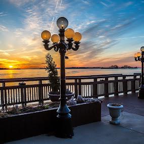Patio on the River by John Witt - City,  Street & Park  Skylines ( harbor, sunset, patio, niagara river, riverview )
