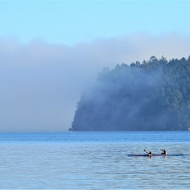 Fog in the bay. by Carol Leynard - Landscapes Waterscapes ( ocean, kayak, water, paddle, fog )
