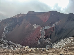 Photo: Mt Tongariro is a colourful place: The red crater...