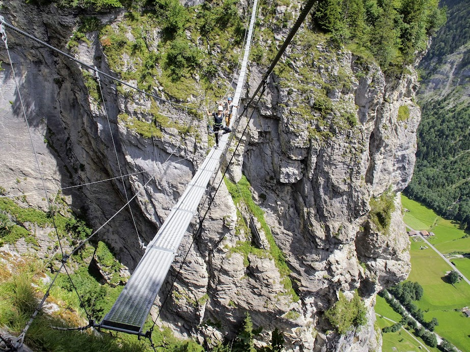 A section of Murren via ferrata requires you to cross a Nepal Bridge (read:swinging, tilting, terrifying bridge)