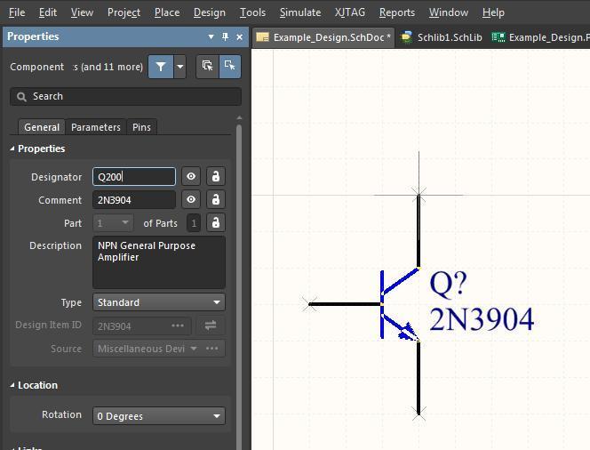 Screenshot Altium Designer 18 Spiegeln und Drehen von Bauteilen – Ändern der Eigenschaften von Bauteilen