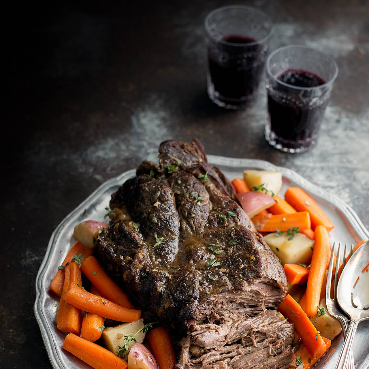 Slow Cooker Pot Roast  as soon as Potatoes and Carrots