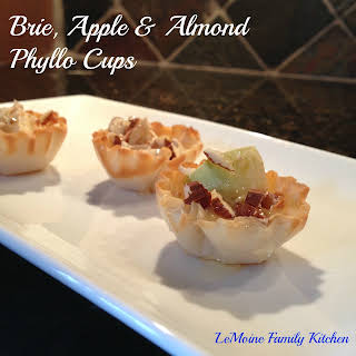 Brie, Apple & Almond Phyllo Cups.