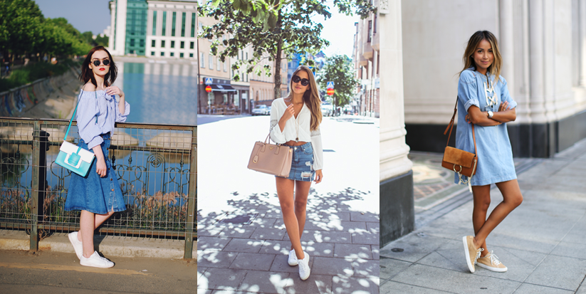 Váy jean mang với giày trắng