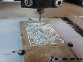 Photo: CNC routing a PCB