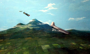 Photo: Dutch fighters shooting down the Indonesian C-47