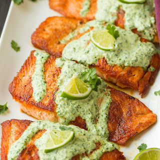 Skillet Seared Salmon with Creamy Cilantro Lime Sauce.