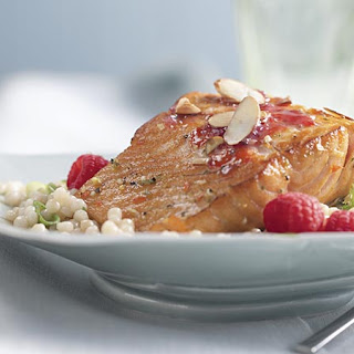 Salmon Fillets With Raspberry Citrus Sauce.
