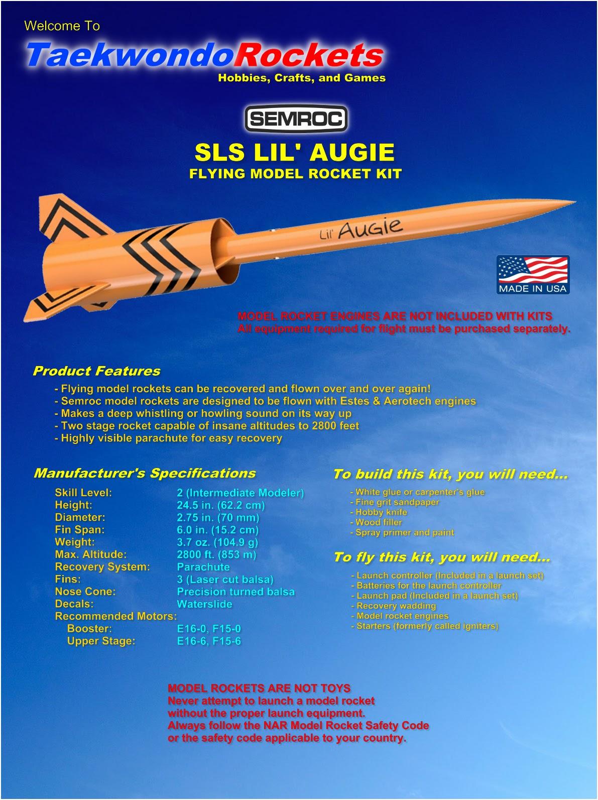 SEMROC SLS LIL' AUGIE Flying Model Rocket Kit - KA-38