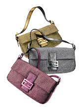 """Photo: FENDI Metallic jacquard """"Baguette"""" in gold, silver or pink. $990. Also available in blue. Italy. Main Floor. 212 872 8775"""