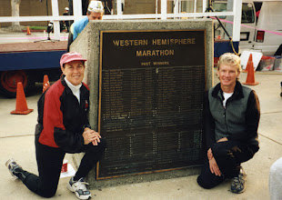 Photo: Cheryl Bridges-Flanagan-Treworgy and Jacqueline Hansen, Culver City, Western Hemisphere Marathon monument - Dec.2001