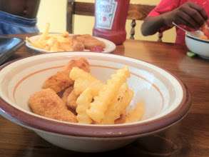 Photo: We had Tyson Chicken Nuggets, Heinz Ketchup and Ore Ida French Fries.