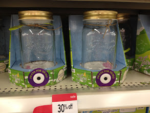 Photo: These fairy jars are so magical!  Looks like a mason jar, but contains a tiny fairy attached to a wire.  When you press the button, the fairy flits around.  Adorable!