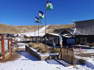 A white blanket covers the Afriski mountain resort in Lesotho on Tuesday.