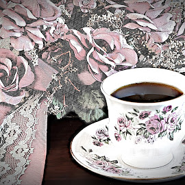 Grandmother's Tea by Sherry Hallemeier - Digital Art Things ( artistic objects, flowers, pink, reflection, lace, fine art, cup and saucer, grandmother's tea, tea, china, grandmas tea, hot tea, hat, mauve, roses )