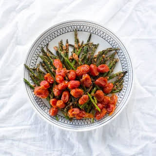 Asparagus with Tomato-Walnut Pesto.