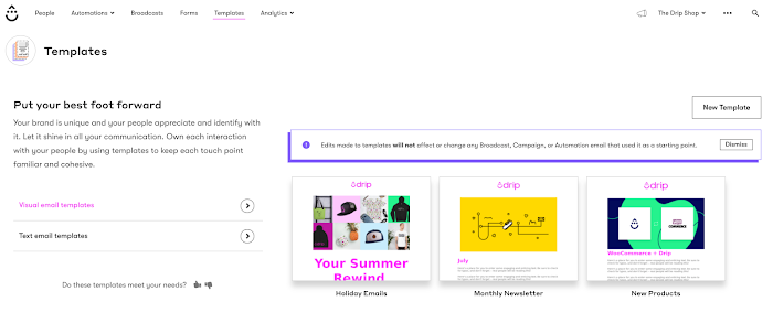 Visual Email Builder Templates Section