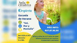 Cartel de la Escuela de Verano de Aula Creativa de Música y Programa Despierta en Almería.