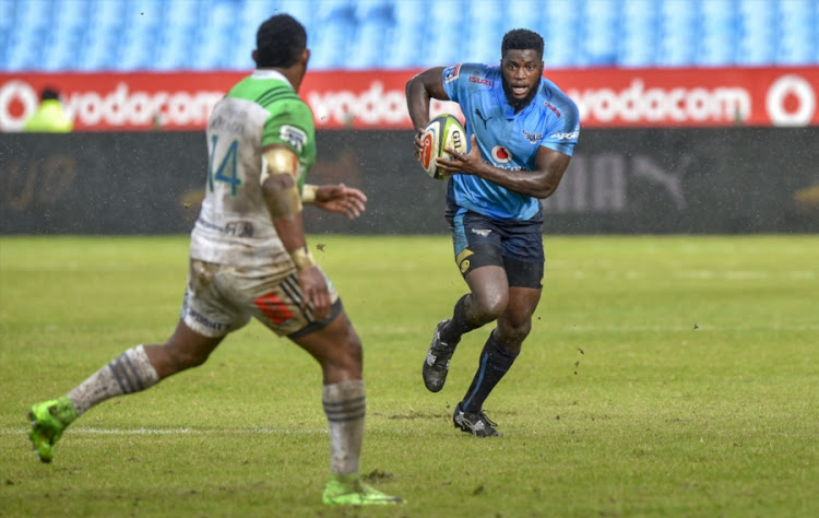 Waisake Naholo and Jamba Ulengo (R) of the Bulls during the Super Rugby match between Vodacom Bulls and Highlanders at Loftus Versfeld on May 13, 2017 in Pretoria, South Africa.