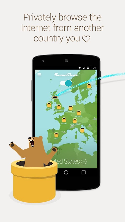 TunnelBear VPN – скриншот