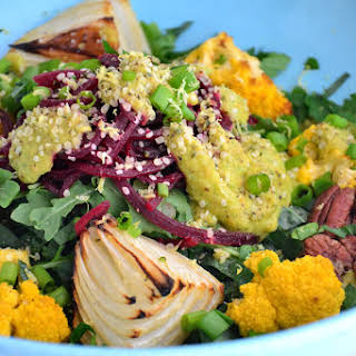 Roasted Cauliflower and Onion Salad with Creamy Chickpea Garlic Sauce {Sugar-Free, Gluten-Free, Dairy-Free, Soy-Free, Grain-Free, Vegan}.