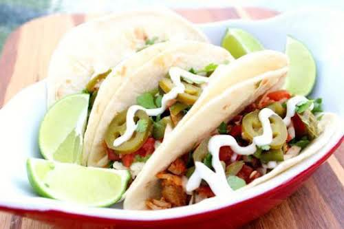 """Pork Tacos with Poblano Pico and Lime Crema """"Perfect blend of flavors..."""