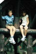 """Photo: Me in """"Lederhose"""" :-) with my Austrian cousin, Erika, Peerdsbos (Brasschaat, Belgium), 1983"""