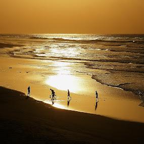 Gold Football by Branko Frelih - Landscapes Sunsets & Sunrises ( landscape, beach, silhouette,  )