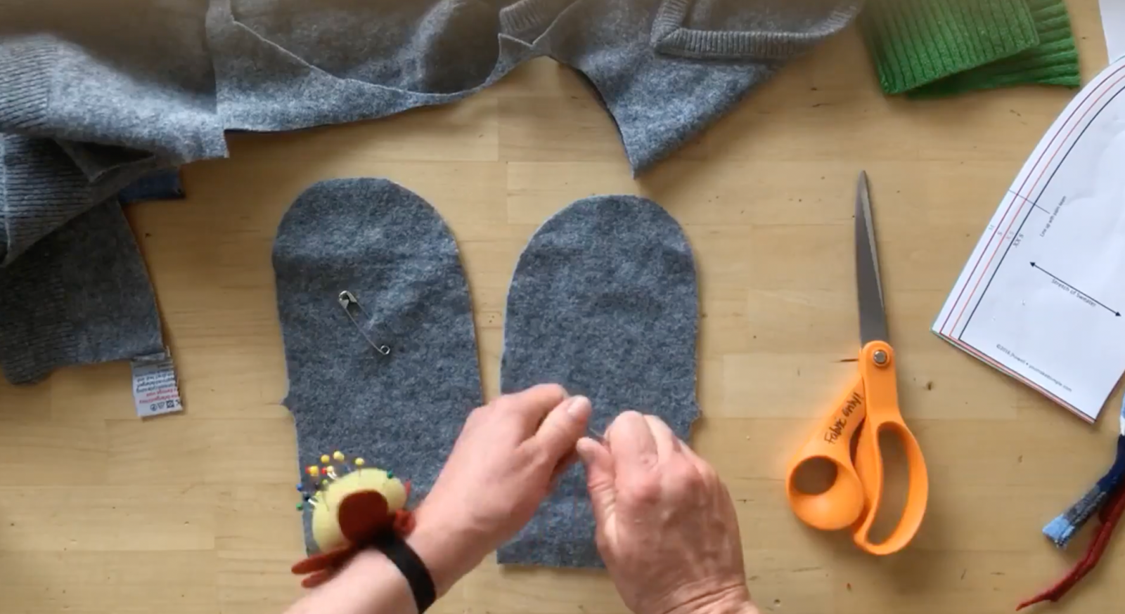 making a sweater into mittens