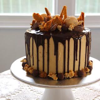 Peanut Butter, Caramel & Chocolate Drip Cake
