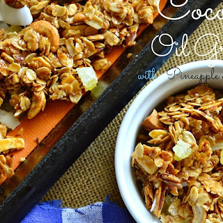Crunchy Coconut Oil Granola with Pineapple and Cashews Recipe