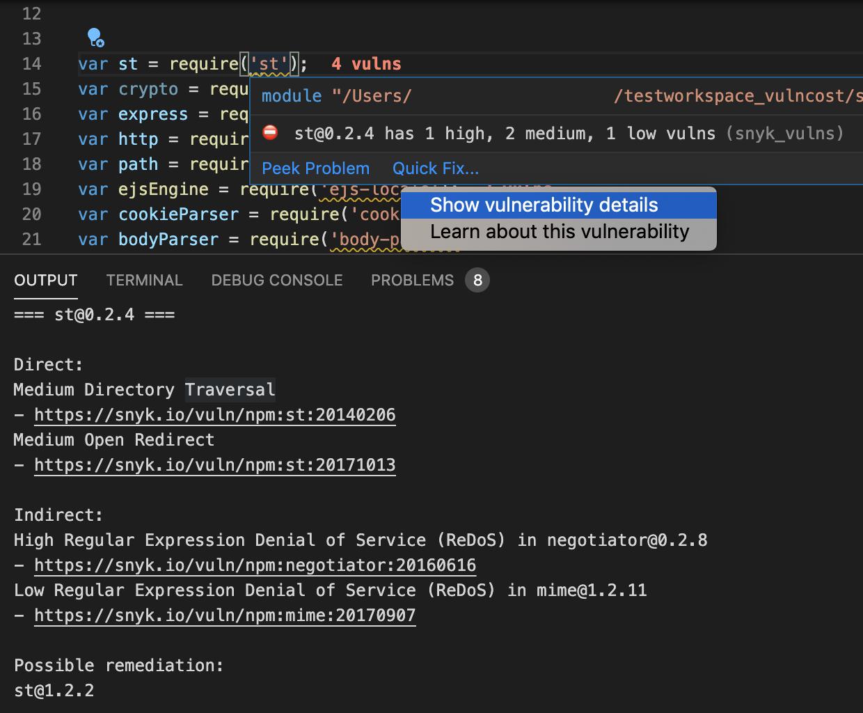 Vuln Cost for VS Code vulnerability breakdown