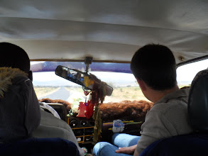 Photo: In the taxi on the way from Wojaale (Ethiopia-Somaliland border) to Hargeisa. Awesome rearview mirror...