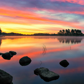 Robins Pond 200409119000 by Carl Albro - Landscapes Waterscapes ( sky, sunrise, reflection, rocks, colorful sky, waterscape, dawn, lake )