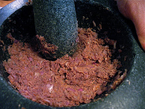 "Photo: paste being made for ""gkaeng liang"" (peppery vegetable soup)"