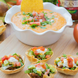 Taco Cups and Cheese Dip {Game Day Food}.