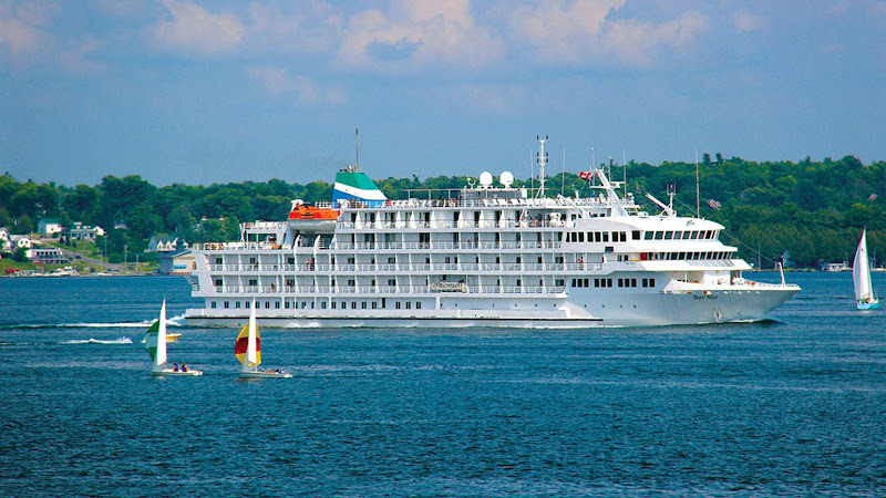Pearl Seas Cruises' 210-passenger Pearl Mist sails through the St. Lawrence Seaway.