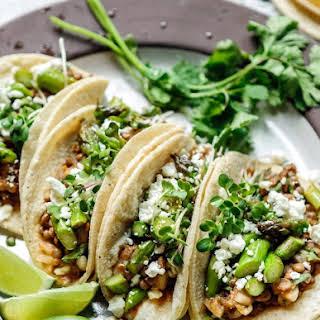Spring Lentil Asparagus Tacos.
