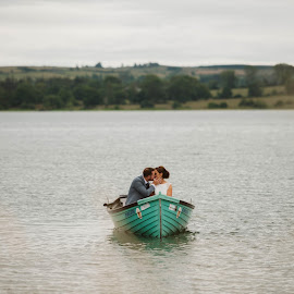 Lakeside kisses by Paul Duane - Wedding Bride & Groom ( bride, groom, wedding, kiss, lake, landscape, boat, ireland )