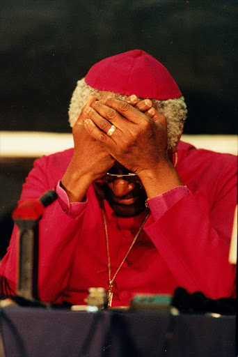 Archbishop Emeritus Desmond Tutu breaks down during hearings of the Truth and Reconciliation Commission in 1997.
