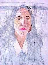 Photo: visage peint, dessin préparatoire fait sur la toile à peindre (détail) - Versailes, au bassin du Trianon -