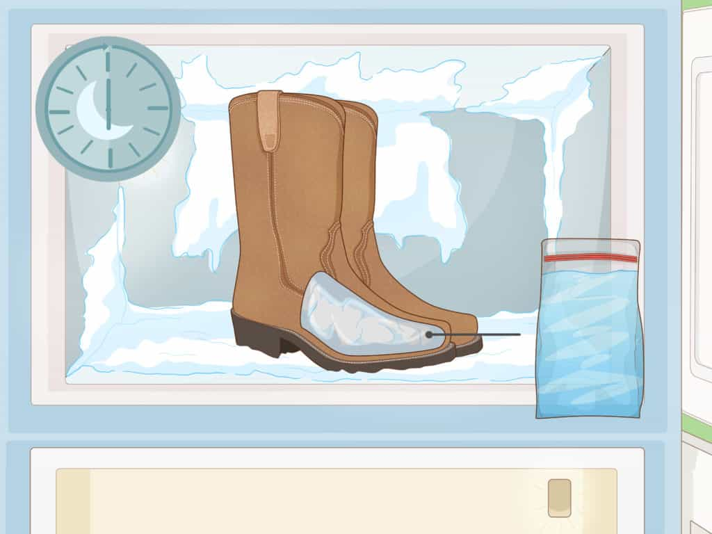 Freeze water bags inside to stretch boots